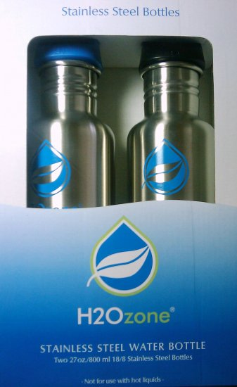 Two (2) H2O Zone 27 oz 800 ml Stainless Steel Water Bottles, 2 Pack (BPA Free) Reusable Hydration