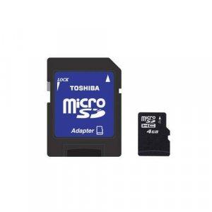 Toshiba 4GB Micro SDHC w/SD Adapter Camera MP3 Computor Video Music Backup NIB