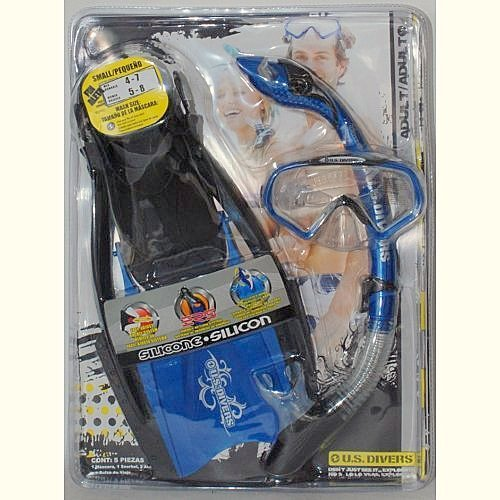 U.S. Divers Adult Snorkeling Set Silicon - Size Large - 1 Snorkel - 2 Fins - 1 bag