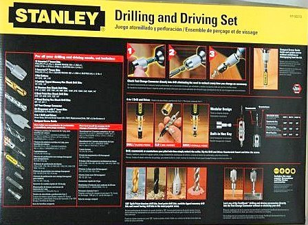 Stanley 72-Piece Drilling and Driving Set Storage Case Wood Metal Masonry Fast Chuck Included NIB