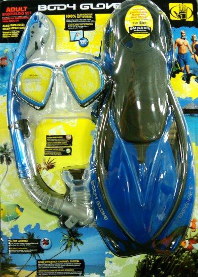 Body Glove size S Dark Blue Adult Snorkel Set Mask Fin Snorkle Bag Professional Silicon NIB