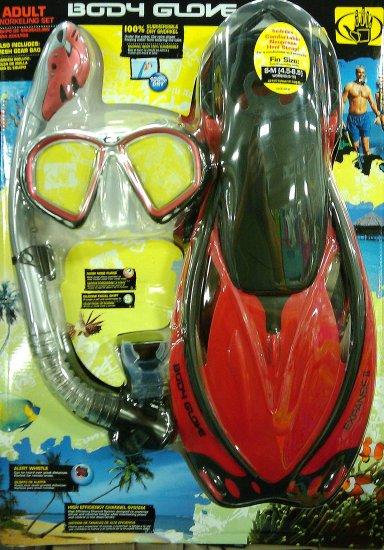 Body Glove size ML-XL Ruby Red Adult Snorkel Set Mask Fin Snorkle Gear Bag Professional Silicon NIB