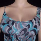 NEW PRINT COWL NECK MINI DRESS sleeveless w-blue SMALL