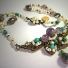 Designer Necklace by J. Wass Amethyst Pearl Turquoise on Vintage Filigree