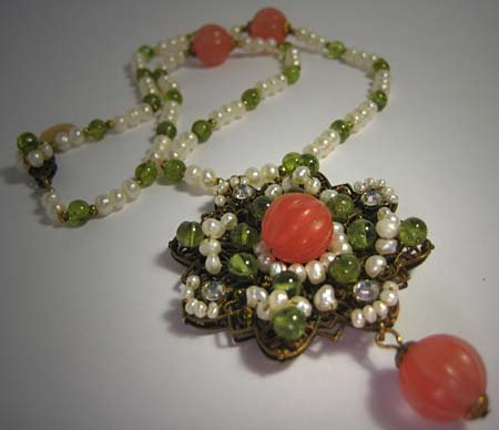 Cherry Quartz Peridot Seed Pearl Necklace by J. Wass Designer Jewelry