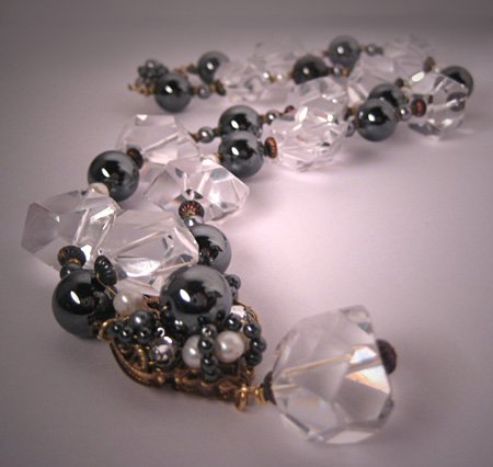 Designer Necklace by J. Wass in Rock Crystal, Hematite and Pearls
