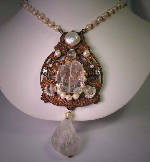 Large Rock Crystal Peal Necklace on Filigree by J. Wass Designer Jewelry