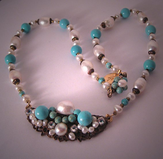 Persian Blue Turquoise Necklace with Pearls by J. Wass Designer Jewelry