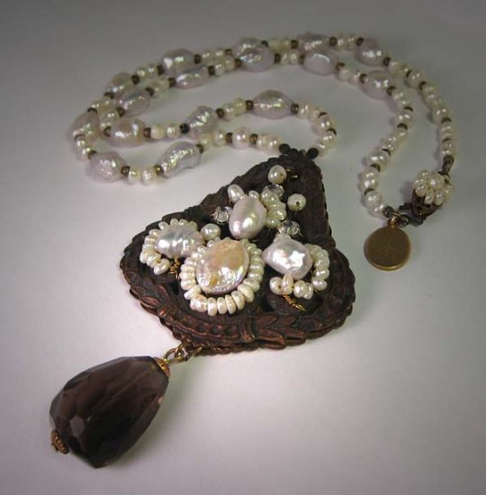 Vintage Filigreed Pearl Necklace with Smokey Quartz Drop by J. Wass Designer Jewelry