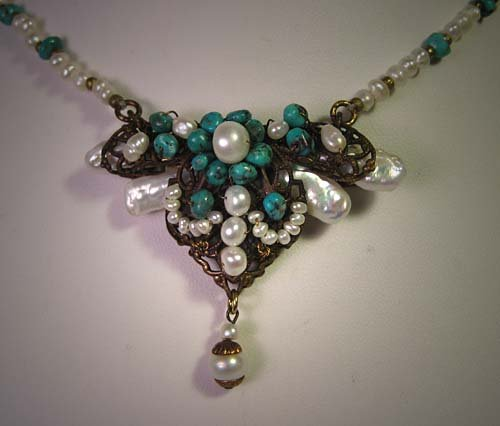 Turquoise and Baroque Pearl Necklace by J. Wass Designer Jewelry
