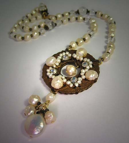 Pearl Necklace by J. Wass Designer Jewelry with Crystal