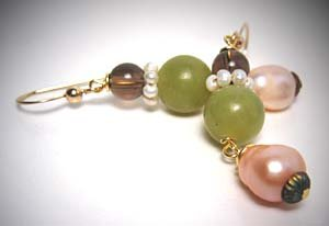 Jade and Seed Pearl Earrings by J. Wass Designer Jewelry