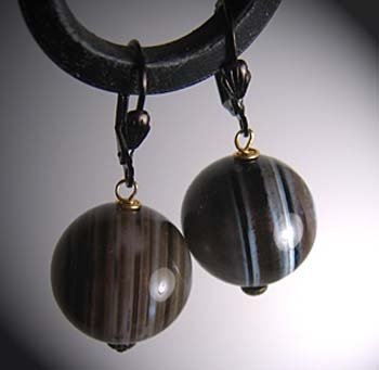 Vintage Banded Agate Earrings by J. Wass Designer Jewelry