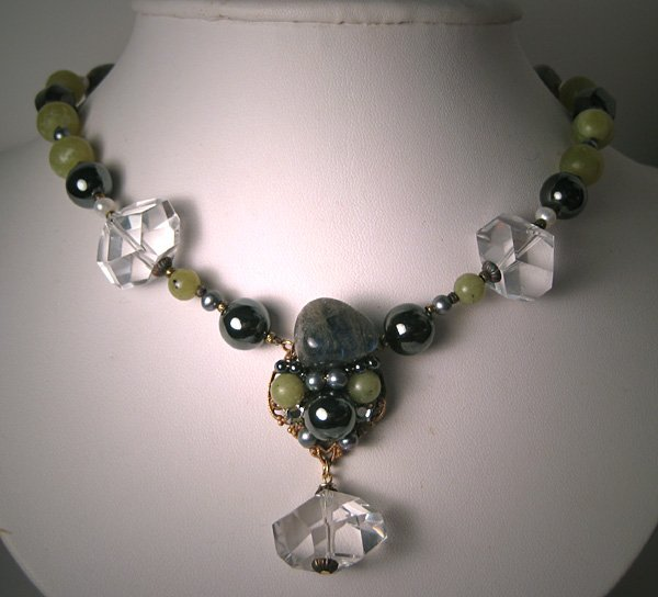 Rock Crystal Labradorite Hematite Pearl Necklace by J. Wass Designer Jewelry