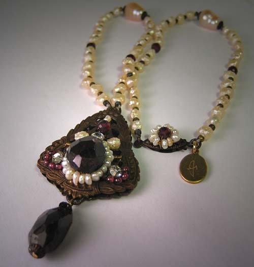 Antique Inspired Garnet  Pearl Handmade Necklace by J. Wass Designer Jewelry