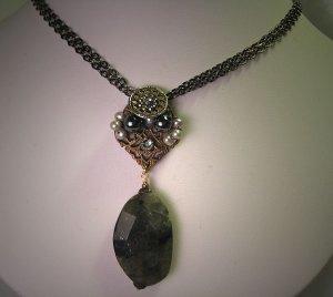 Labradorite Necklace with Antique Steel Cut Handmade by J. Wass Designer Jewelry