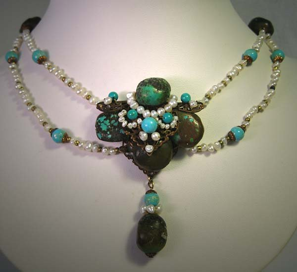 Turquoise  Pearl Festoon Necklace by J. Wass Designer Jewelry