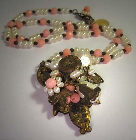 Handmade Pink Coral Pearl Necklace by J. Wass Designer Jewelry