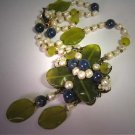 Handmade Lapis Jade Pearl Necklace by J. Wass Designer Jewelry