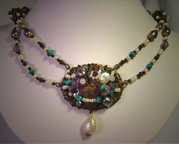 Vintage Inspired Gemstone Necklace Floral by J. Wass Designer Jewelry