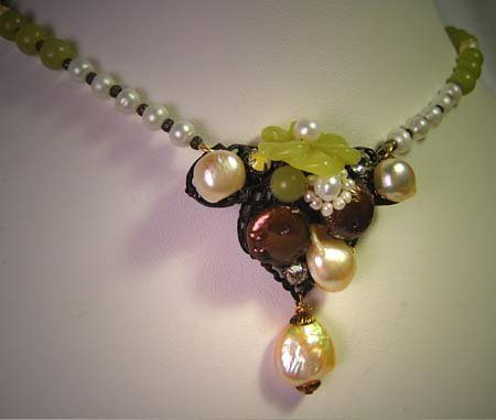Handmade Jade Pearl Necklace Floral by J. Wass Designer Jewelry