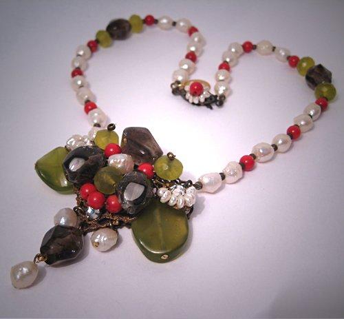 Coral Smokey Quartz Pearl Necklace Handmade by J. Wass Designer Jewelry