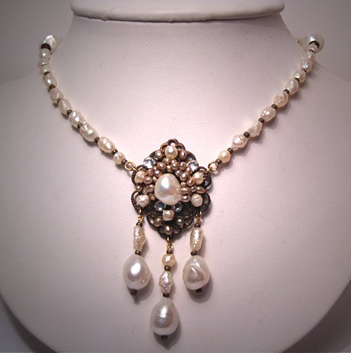 Handmade Pearl Necklace by J. Wass Designer Jewelry Baroque Drops