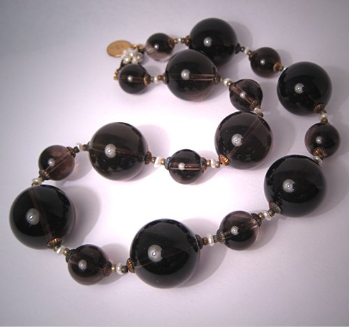 Smokey Quartz Pearl Choker Necklace by J. Wass Designer Jewelry