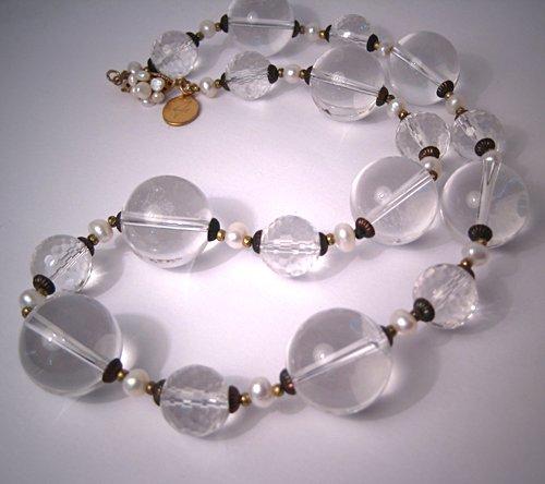 Rock Crystal Pearl Choker Necklace Handmade by J. Wass Designer Jewelry