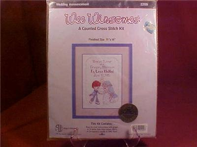 NIP WEE WINSOMES WEDDING ANNOUNCEMENT CROSS STITCH KIT