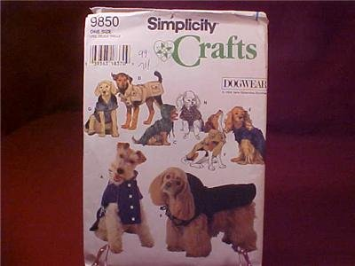 UNCUT SIMPLICITY DOGWEAR SEWING PATTERN #9850 (SOLD)