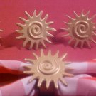 VINTAGE SET OF 6 GOLD SUN ART DECO NAPKIN RINGS