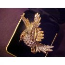 VINTAGE RHINESTONE BIRD PIN/BROOCH GOLD TONE