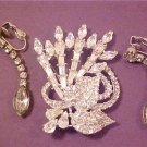 ESTATE STUNNING CRYSTAL BROOCH/CLIP EARRINGS TEAR DROP