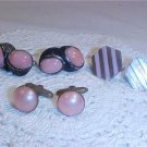 VINTAGE LOT OF CUFF LINKS PINK STONES