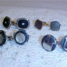VINTAGE LOT OF MEN'S CUFF LINKS ONYX AND PEARL
