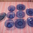 DEPRSSION GLASS COLBALT BLUE 5 SAUCERS 3 BOWLS & BUTTER