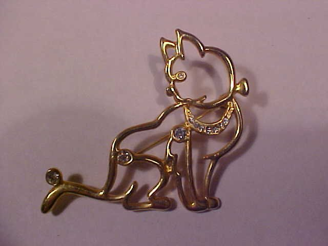 VINTAGE GOLD TONE CLEAR RHINESTONE CAT PIN PENDENT