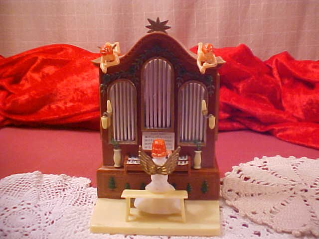 VINTAGE MUSICAL ANGEL PLAYING ORGAN  SILENT NIGHT (SOLD)