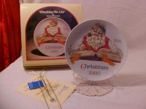 MIB 1980 NORMAN ROCKWELL PLATE CHECKING HIS LIST #8064