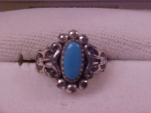 VINTAGE TURQOUISE STERLING PINKY RING SIZE 4