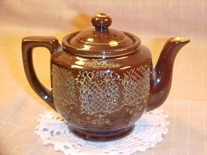 Vintage Japan Brown Floral Tea Pot