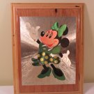 Walt Disney Vintage Foil Minnie Mouse Picture on wood plaque