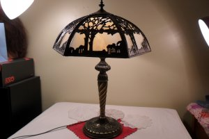 Vintage Tiffany Style Stained Lead Glass Lamp Collectible