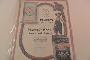 1908 AD PILLSBURY'S BEST FLOUR AD AND BREAKFAST FOOD
