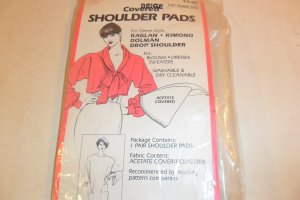 """BEIGE COVERED SHOULDER PADS 1/2"""" THICK PAD 1 PAIR"""