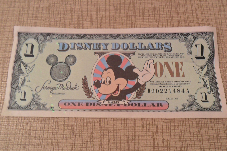 Series 1998 Disney Dollars One Disney Dollar (SOLD)