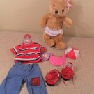 "13"" Plush BLUE JEAN TEDDY BEAR-BLOSSOM with extra outfits"