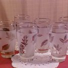 Set of 6 Vintage Libbey beverage glasses co. silver leaf Frosted glasses Autumn Leaf pattern