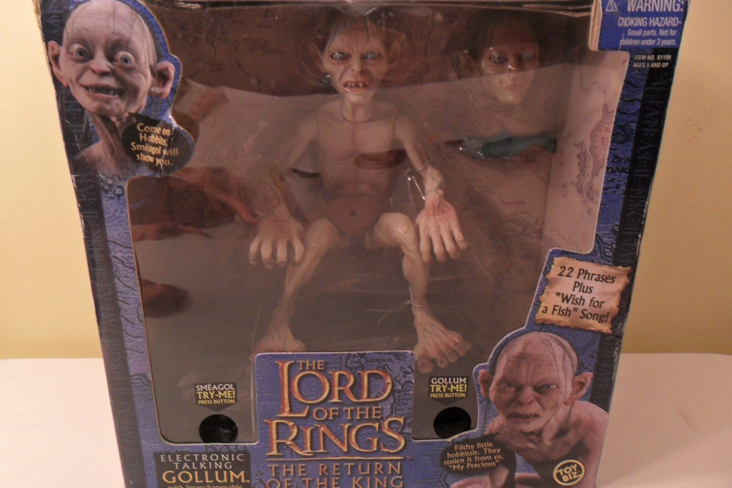 2003 The Lord Of The Rings Electronic Talking Gollum w/ Interchangeable Heads